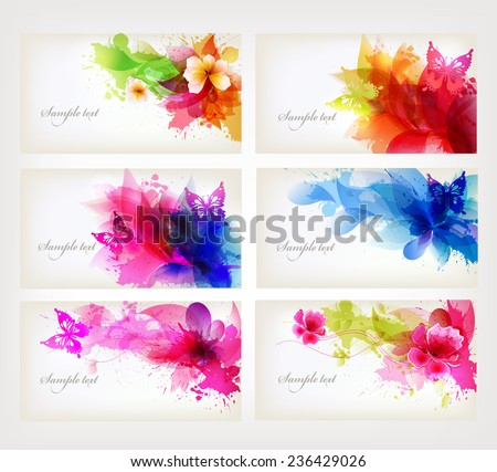 set of fantasy flowers element