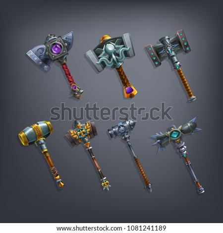 Set of fantasy hammers and mace weapon for game. Vector illustration.