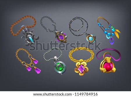 Set of fantasy jewelry decorations, amulets for game. Vector illustration. Imagine de stoc ©