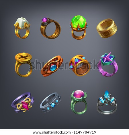 Set of fantasy jewelry decorations, rings for game. Vector illustration. Imagine de stoc ©