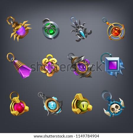 Set of fantasy jewelry decorations, talisman for game. Vector illustration. Imagine de stoc ©
