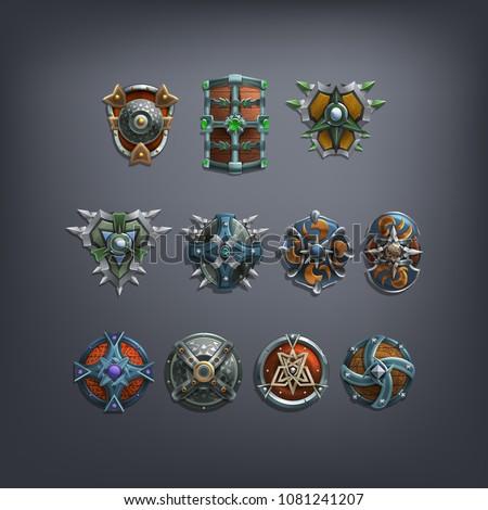 set of fantasy shields armor