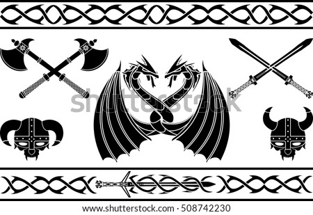 set of fantasy viking signs and