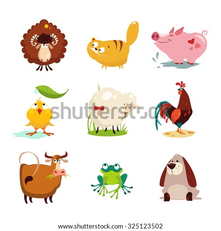 set of farm animals and birds
