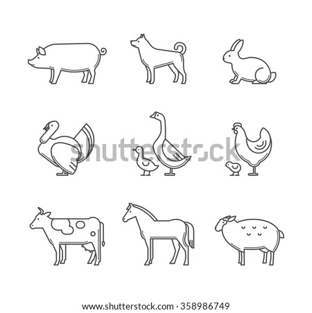 Set of farm animals and pets outline style vector icons.
