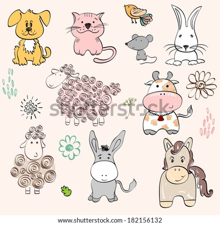 set of farm animals Hand drawn illustration