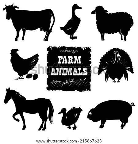 Set of farm animals. Hand drawn vector illustration.