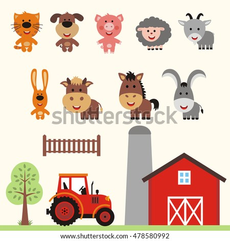 Set of farm animals in cartoon style: cat, dog, pig, sheep, goat, rabbit, cow, horse, donkey and tractor near house.
