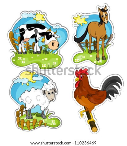 set of farm animals on nature isolated on white background: cow, horse, sheep and rooster. vector illustration.