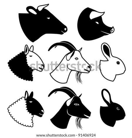 set of farm animals silhouettes