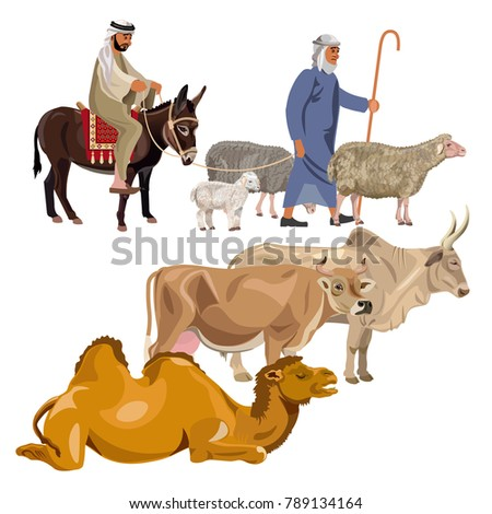 set of farm animals with
