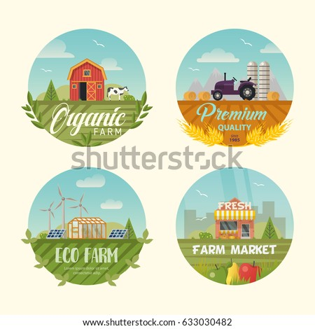 set of farm icons or logo with