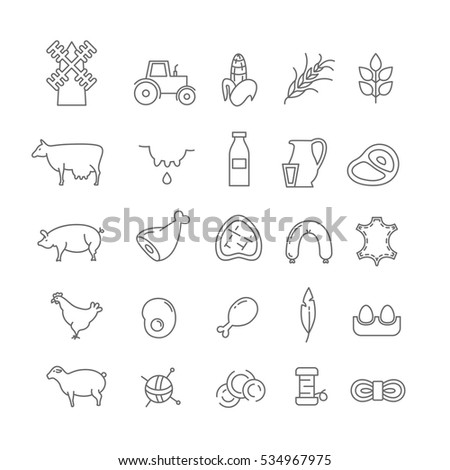 set of farm icons with animals