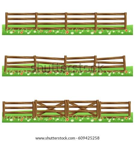 set of farm wooden fences