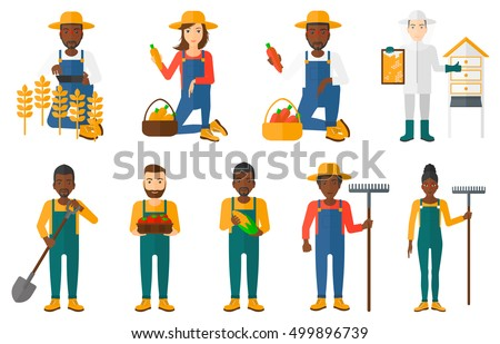 set of farmers using