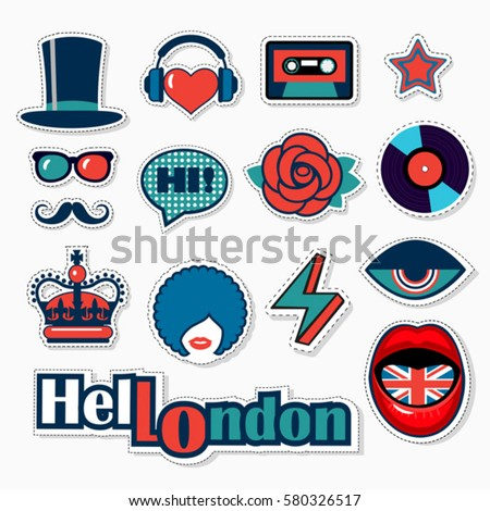 set of fashion british patches