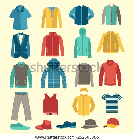 Shutterstock set of Fashion collection of man wardrobe. Various male clothing - Set of flat men clothes and accessories icons - Illustration