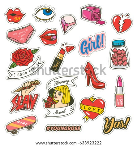 set of fashion cute patches