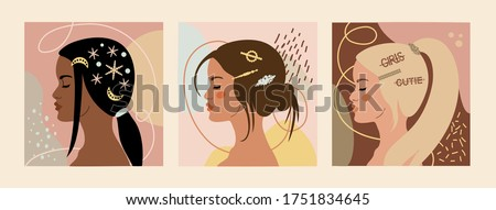 Set of  fashion girl profiles with trendy hairstyle for women. Women with hairpins and hair clips with pearls. Colorful vector illustration for print, t-shirt design, poster, banner.  Stockfoto ©