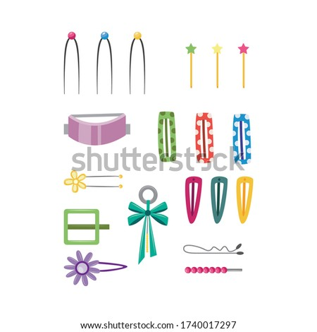 Set of fashion girlish hair accessory - hairpins and hair-clips icons, flat vector illustration isolated on white background. Female hairstyle accessories collection. Stockfoto ©