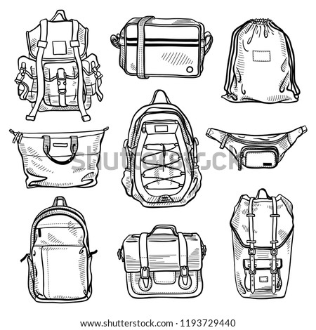 Set of 9 fashion men's bags and unisex backpacks sketches: classic backpack, cross body bag, bum bag, drawstring backpack, shopper bag, leather satchel, case, messenger bag. Vector isolated sketches