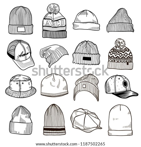 Set of fashion men's caps and hats sketches: baseball caps, snap-back cap, trucker cap, baker boy cap, knitted hats, hats with a pom pom, sports hats, fisherman beanie, bucket hat. Vector isolated