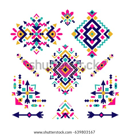 Set of fashion mexican, navajo or aztec, native american patterns. geometric ethnic decoration. Colored vector tribal design element for tattoo, frame and border, textile, fabric or paper print.