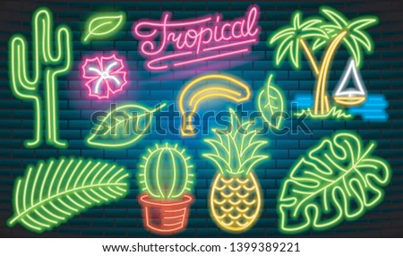 Set of fashion neon sign. Cactus and pineapple, tropical plants, palm trees and leaves. Night bright signboard, Glowing light banner. Summer logo for Club or bar on dark background. Editable vector