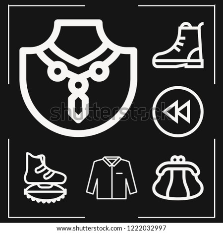 set of 6 fashion outline icons