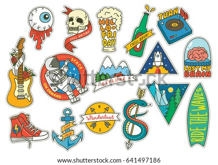 set of fashion patch with