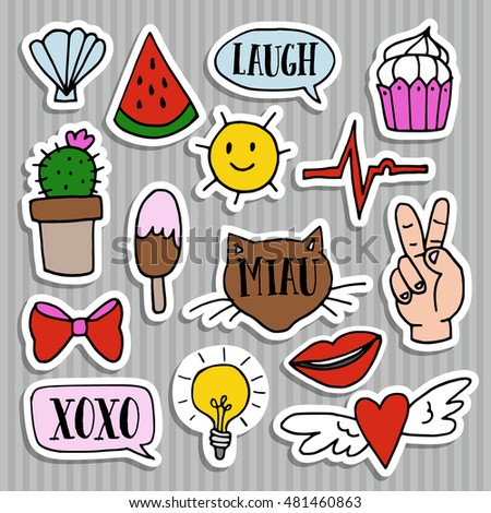 Set of fashion patches, badges, pins, and stickers. Cool, trendy, hand drawn design. Modern isolated vector objects #481460863