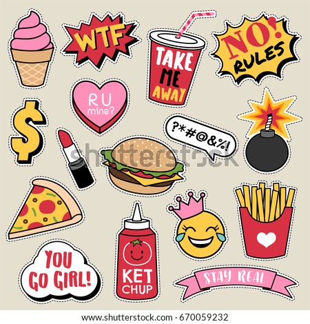 Set of fashion patches, cute colorful badges, fun cartoon fast foods icons design vector.