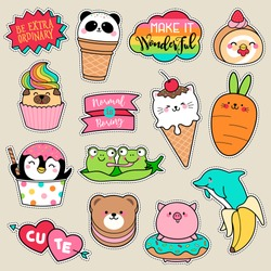 Set of fashion patches, cute colorful badges, fun cartoon icons design vector in animal shaped food concept