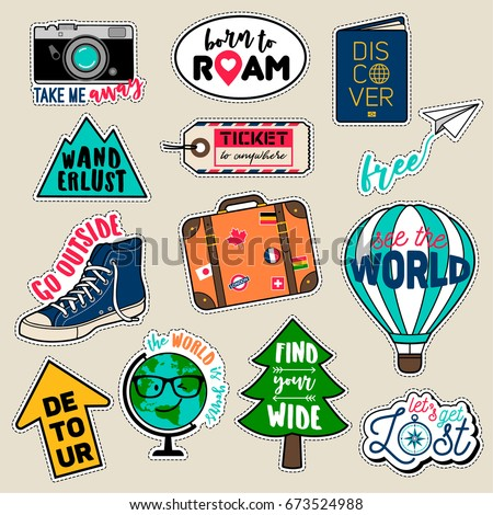 Set of fashion patches, cute colorful badges, fun cartoon icons design vector in journey concept