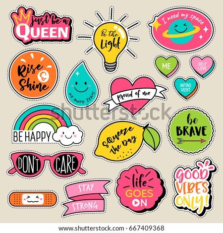 Set of fashion patches, cute colorful badges, fun cartoon icons design vector in motivation concept