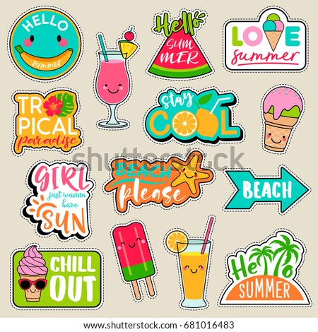 Set of fashion patches, cute colorful badges, fun cartoon icons design vector in summer holidays concept