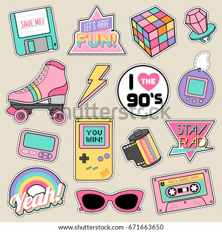 set of fashion patches  cute