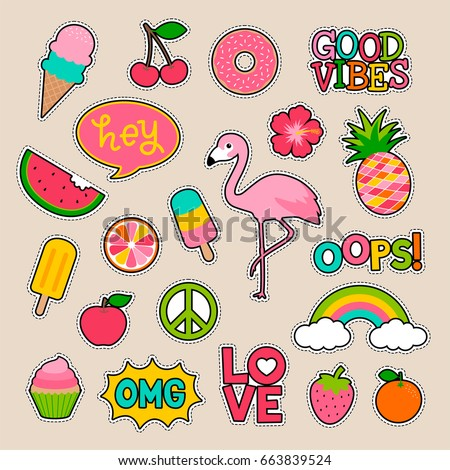 Set of fashion patches, fun stickers, cute badges vector in cartoon style