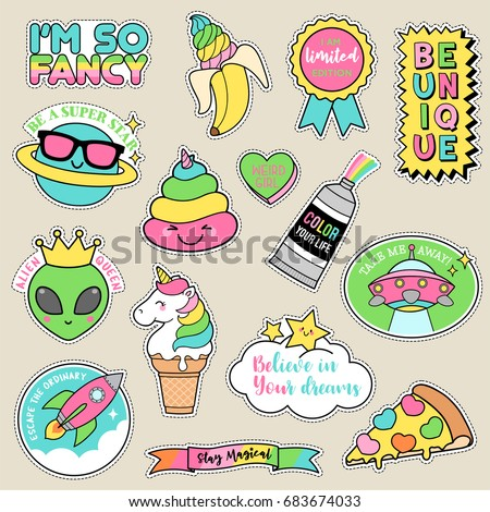 set of fashion patches  pastel
