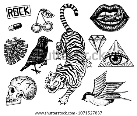 set of fashion patches tattoo
