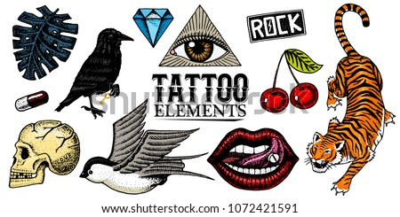Set of Fashion patches. Tattoo artwork for Girls. Tiger and lips, skull and eye in the triangle. Engraved hand drawn in old vintage sketch. Vector surreal illustration, badges, print for t-shirt.