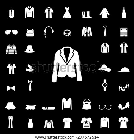 Set of Fashion white icons and silhouettes. apparel icon. clothes icon. sign and symbol. vector