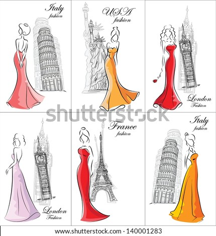 set of fashion women in