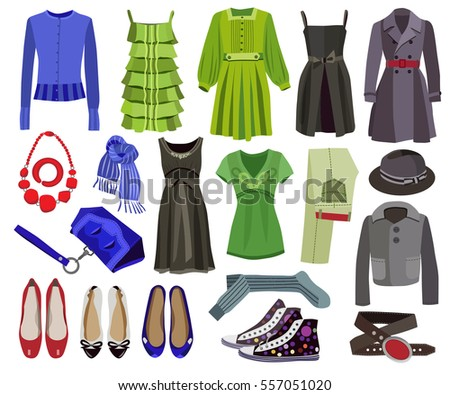 set of fashion women's clothes