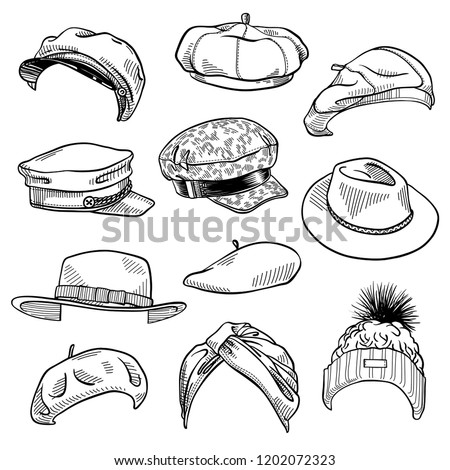 Set of 11 fashion women's hats sketches: turban hat, knit beanie with fur pom pom, baker boy hat, felt boater hat, fedora, beret. Vector ink hand drawn illustration isolated on white background