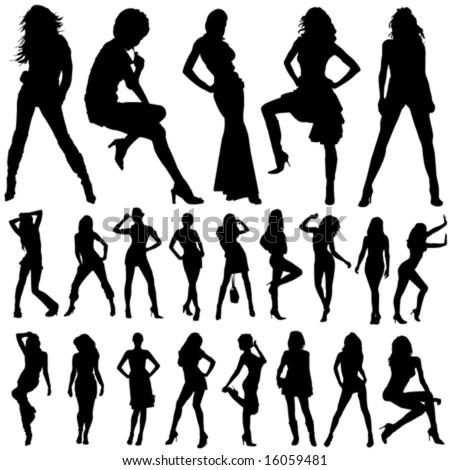 set of fashion women vector