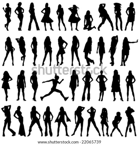 set of fashion women vector - stock vector