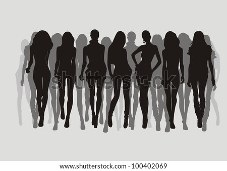set of fashion women vector. on gray background