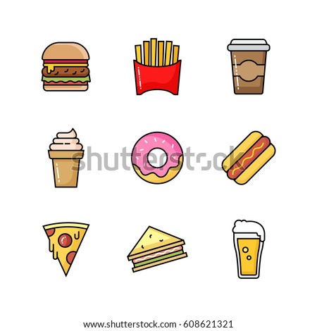 Set of fast food icons. Takeaway street food collection. Colored outline icons.