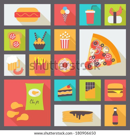 Set of fast food items for restaurant and menu. Flat design vector icons.
